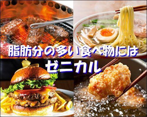 脂肪分(脂質)が多い食べ物にはゼニカル